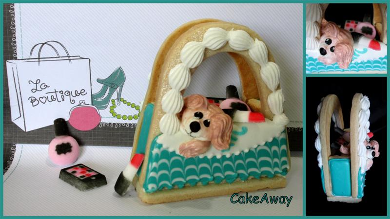 3D lady bag cookie with puppy