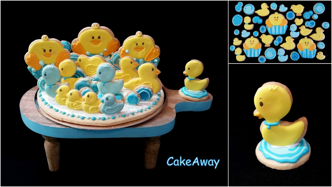baby boy duckie cookie topper