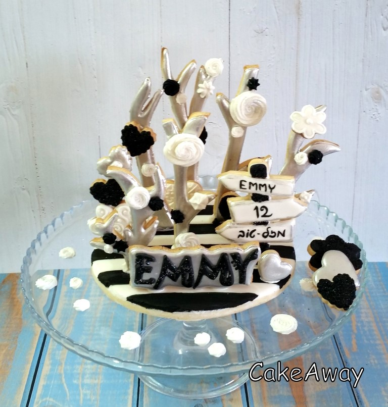 branches and flower bat mitzvah cookie topper
