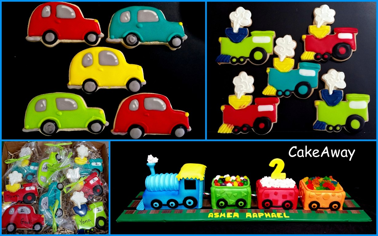 car and train cookies with matching cake