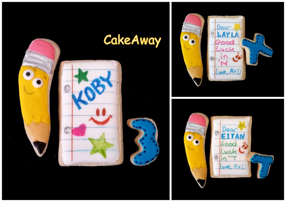 pencil and notebook cookies