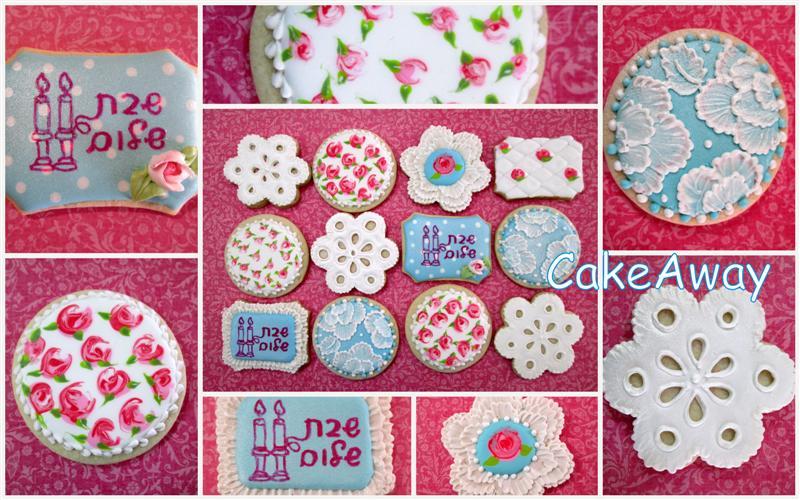 shabbat shalom flower lace cookies