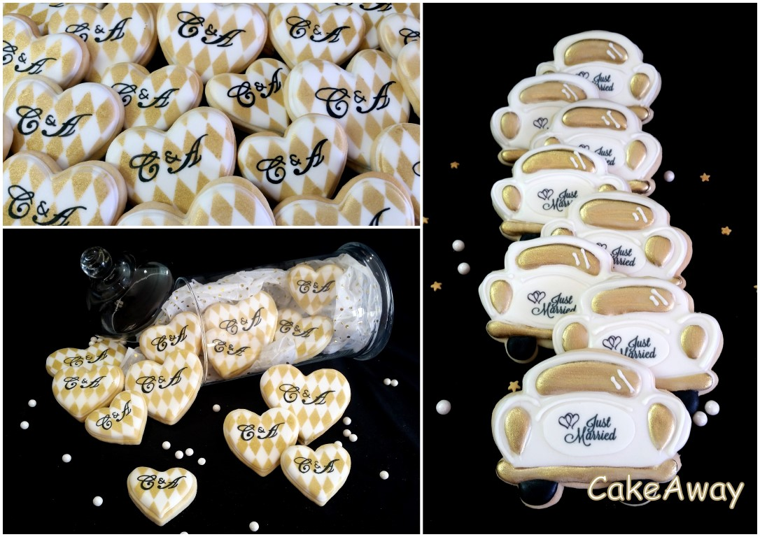 wedding car and heart cookies
