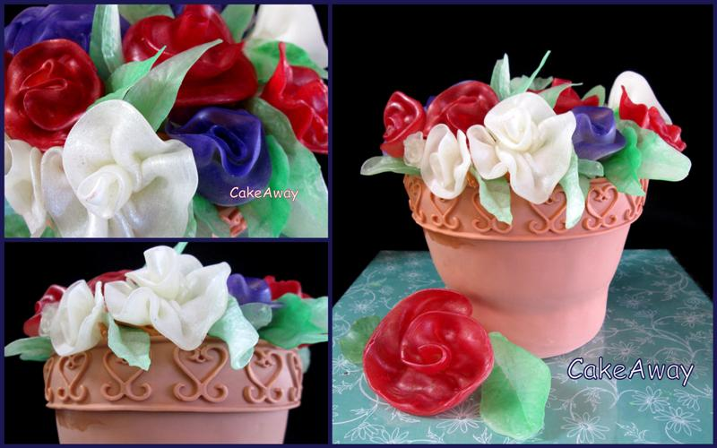 flower pot cake with sugar flowers